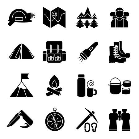 Montañismo equipo conjunto de iconos de negro y las herramientas de turistas aislados en fondo blanco ilustración vectorial