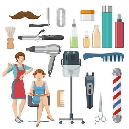 clipper: Beauty salon decorative icons set with cosmetics master shaving brush comb scissors clipper razor isolated vector illustration Illustration