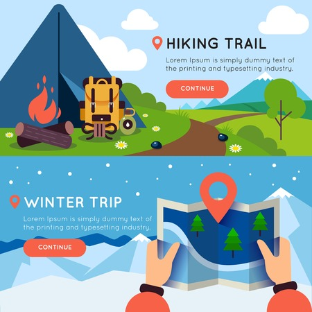 hiking trail: Camping colored banner set with headlines of hiking trail and winter trip vector illustration