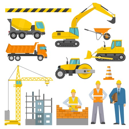 barrier tape: Construction decorative icons set with barrier tape workers truck crane road roller excavator bulldozer isolated vector illustration