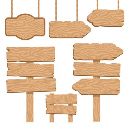 letreros: Iconos decorativos de madera guidepost establecen con colgantes y terrestres letreros de aislados ilustración vectorial de color arena