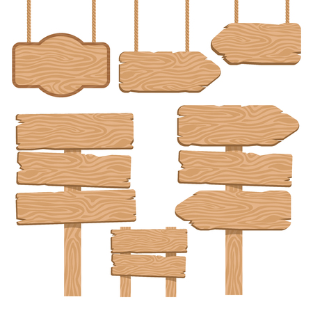 cutout: Wood guidepost decorative icons set with hanging and terrestrial signboards of sand color isolated vector illustration Illustration