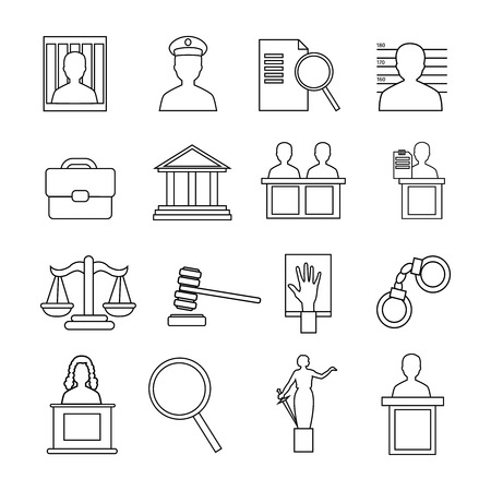 judicial: Judicial system icon set recognizable symbols of the judicial system isolated on whine background vector illustration Illustration
