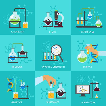 organic chemistry: Chemical experimental icon set with descriptions of chemistry study experience biology organic chemistry science laboratory vector illustration Illustration