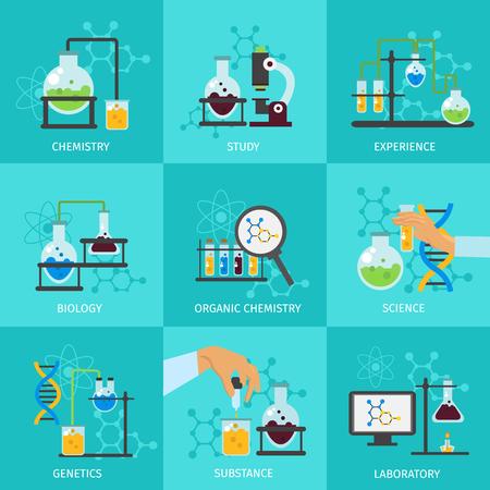 quimica organica: Qu�mica icono montaje experimental con descripciones de estudio de la qu�mica de la biolog�a experiencia de la ciencia qu�mica org�nica ilustraci�n vectorial de laboratorio Vectores