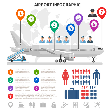 airplane world: Airport service infographics with airplane world map stewardesses pilot information signs statistics on white background vector illustration