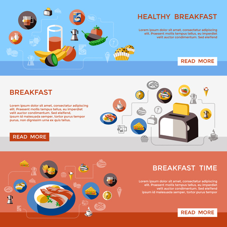 Breakfast Horizontal Banners Illustration