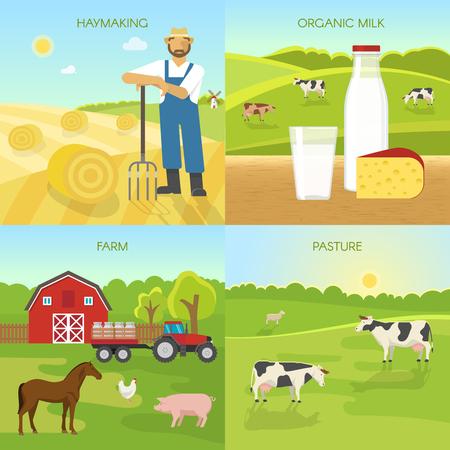 Agriculture compositions plats avec récolte de foin bio produits laitiers ferme vert pâturage vecteur isolé illustration