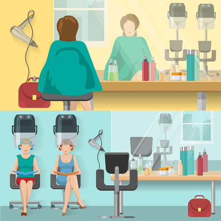 reflection mirror: Beauty salon flat compositions with woman reflection in mirror and drying hair isolated vector illustration