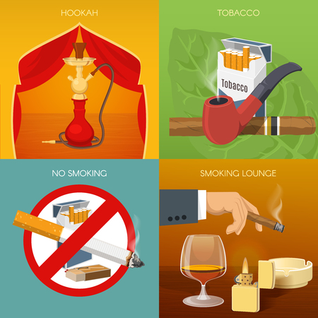 prohibitive: Smoking tobacco compositions with hookah room types of products prohibitive sign comfortable lounge isolated vector illustration
