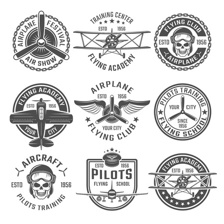 Airplane emblem or labels set with different shapes and headlines flying club flying academy and training centre for example vector illustration Ilustração