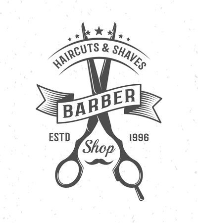 barber scissors: Black and white barber scissors composition with ribbon and name of barber shop vector illustration