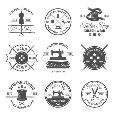 tailor shop: Black tailor round emblem or label set with descriptions of premium quality in tailor shop vector illustration Illustration