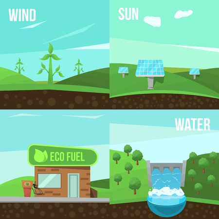 tree world tree service: Four square ecology flat icon set on wind sun water and eco fuel themes vector illustration
