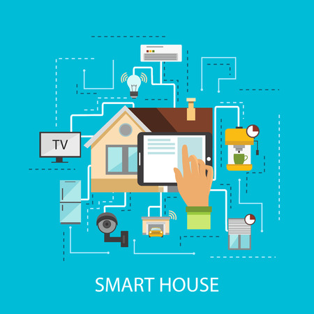 presence: Smart house composition the presence in the house technology and the latest gadgets vector illustration