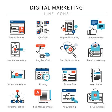 news letter: Digital marketing line icon set with descriptions of social media digital banner mobile video marketing news letter vector illustration Illustration