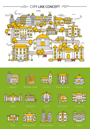 Building line concept wit different types of building in city hospital library hotel school vector illustration Vetores
