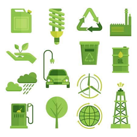 electric turbine: Ecology decorative flat icons set with recycling symbol electric car globe lightbulb wind turbine isolated vector illustration Illustration