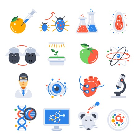 scientific experiment: Biotechnology colored isolated icon set with scientific experiment in laboratory and equipment vector illustration