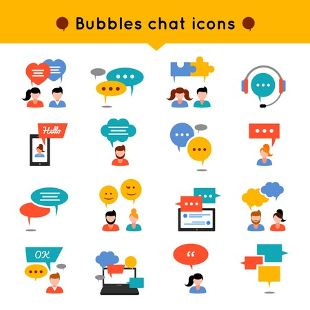 communicate: Chat flat icon set people who communicate, and over their heads different types of bubbles vector illustration Illustration