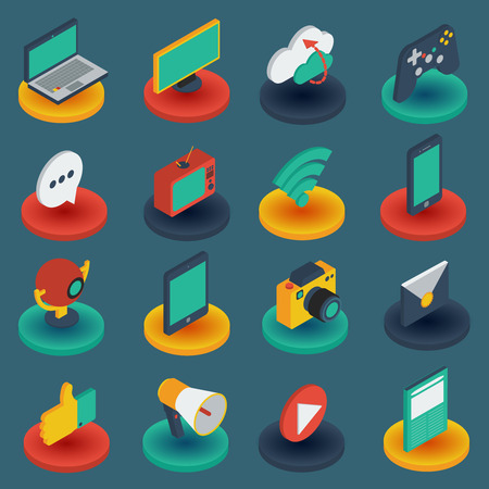 bases: Media isometric icons on round bases with gadgets game controller mail on black background isolated vector illustration