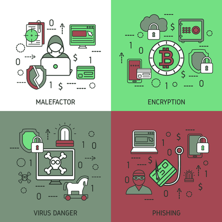 malefactor: Internet security square icon set with descriptions of malefactor virus danger and phishing vector illustration