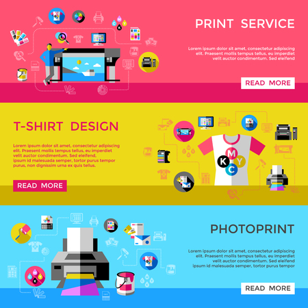 Print Service Horizontal Banners Vectores