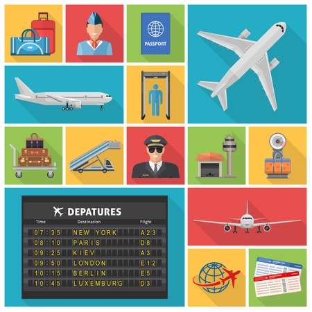 airline: Airport decorative flat icons set with airplanes departures schedule pilot ticket luggage hangar passport isolated vector illustration Illustration