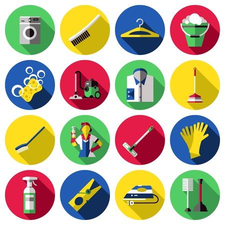 Flat cirkel gekleurde en geïsoleerde reiniging icon set met tools voor het wassen en schoonmaken vector illustratie