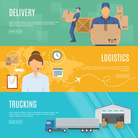 trucking: Logistics horizontal flat banners set with goods delivery call center shipment and trucking isolated vector illustration