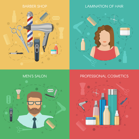 Hairdressing salon concept with working tools lamination of hair mens studio professional cosmetics isolated vector illustration