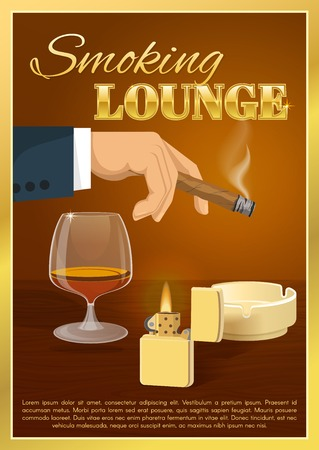brandy: Smoking lounge poster with burning cigar in male hand glass of brandy on brown background vector illustration