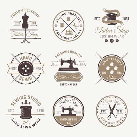 sewn: Color tailor emblem set with descriptions of custom clothing wear hand sewn and premium quality vector illustration Illustration