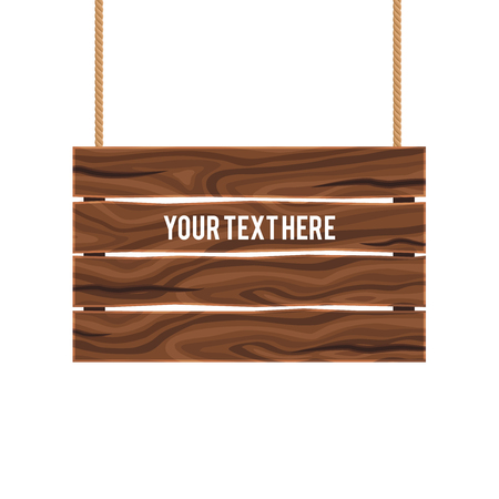 composite: Separate empty wood composite signboard hanging on ropes of brown color on white background vector illustration