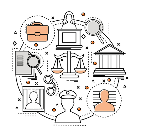 Line Art judicial concept components of the judicial system in the circle vector illustration Illustration