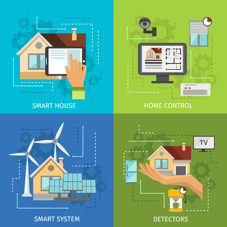 detectors: Colored smart house icon set with descriptions of smart house system home control and detectors vector illustration