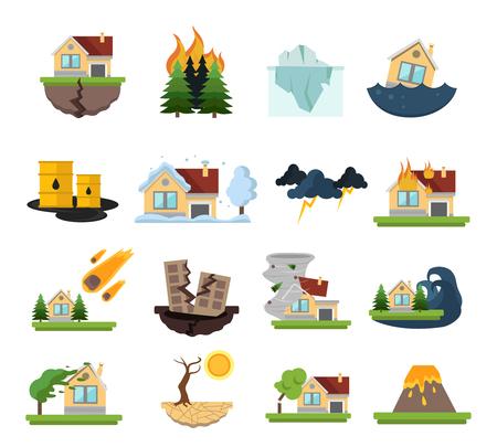 Couleur et isolé dégâts en cas de catastrophe icon set incendies de forêt inondations et autres catastrophes illustration vectorielle