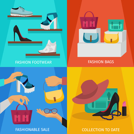 shopping people: Square fashion accessories icon set with descriptions of fashion footwear fashion bags fashionable sale and collection to date vector illustration Illustration