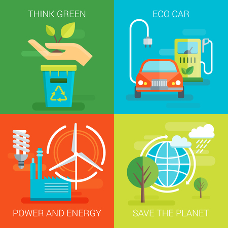 planet car: Ecology flat compositions with think green eco car save planet safe power and energy isolated vector illustration
