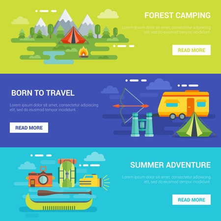 motor home: Summer tourist adventures horizontal banners with forest camping traveling by motor home rafting isolated vector illustration