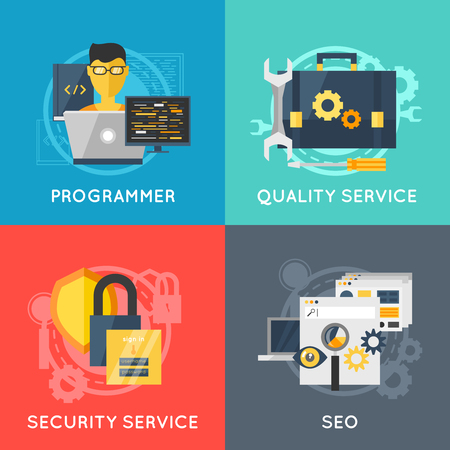 security service: Four square program development flat colored icon set with descriptions of programmer quality and security service seo vector illustration Illustration