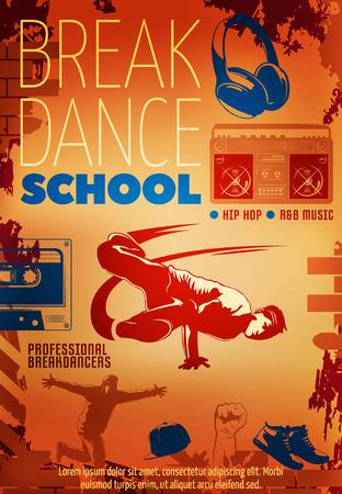 break dance: Hip hop dance colored poster or flyer with headline break dance school vector illustration