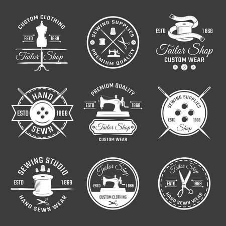 hangers: Vintage Tailor Labels Set Illustration