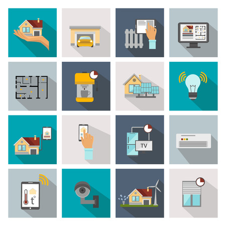 Smart house flat square icon set with different types of smart system and detectors in home vector illustration Illustration