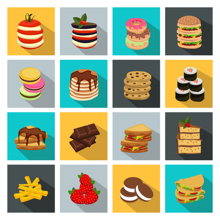 yummy: Sixteen square meal icon set with different yummy food in shape of tower vector illustration Illustration