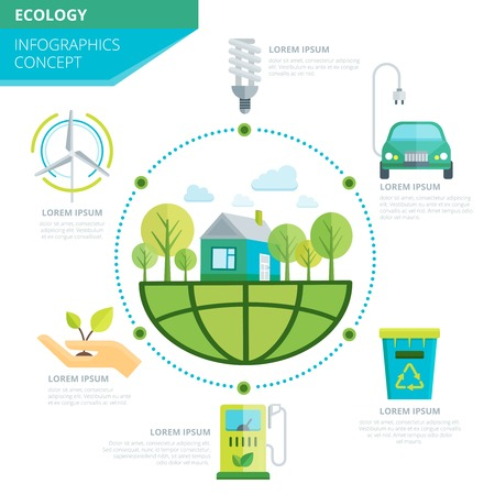 energy center: Planet ecology infographics with organic climate on earth in center signs of green energy around vector illustration Illustration
