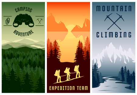 alpinism: Mountain expeditions vertical banners set with natural landscape climbing team camping adventure isolated vector illustration