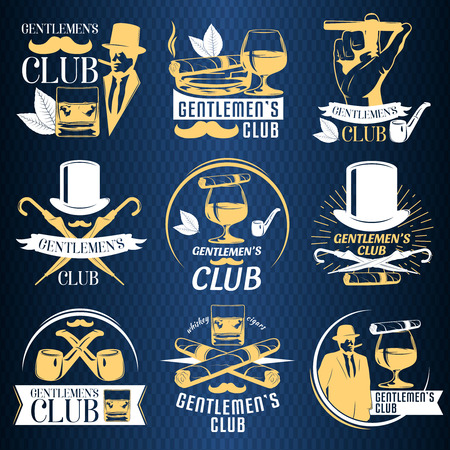 cigar smoking man: Colored gentlemen club label set with descriptions of gentlemen club and whiskey cigars vector illustration
