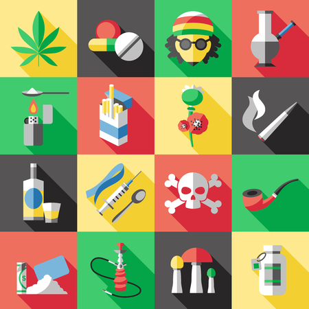 narcotics: Sixteen square flat drugs icon set with different types of drug dependence alcohol and smoking vector illustration Illustration