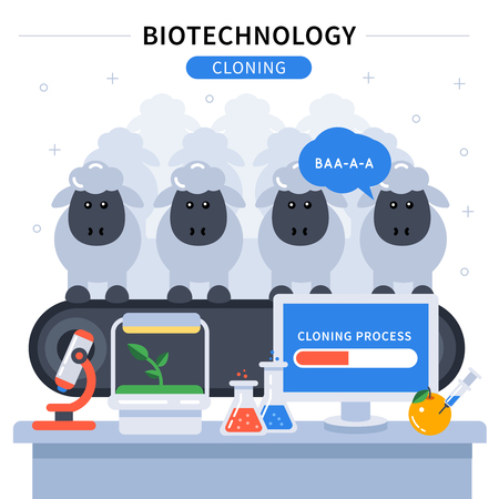 cloning: Biotechnology colored banner with science experiment cloning sheep and laboratory instruments on the table vector illustration Illustration